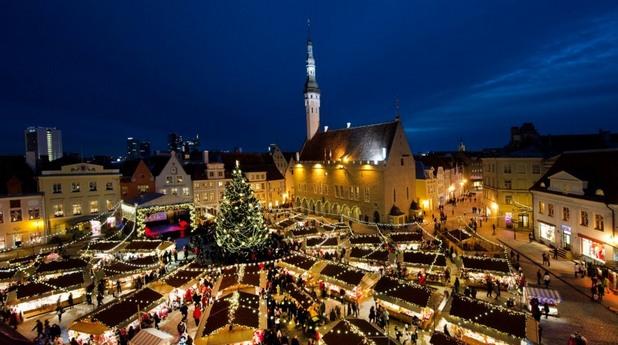 талин, площад, коледен базар, зима