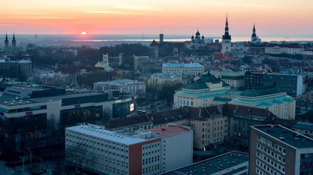 талин, естония, изгрев