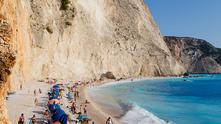 гърция, лефкада, плаж, море, лято, ваканция, плажуващи, почивка