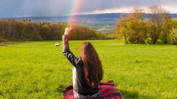 дъга, поляна, дъжд, красота