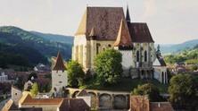 биертран, румъния, трансилвания, църква, пейзаж, градче