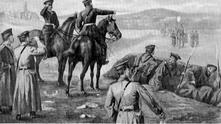 """Пощенска картичка от 1885 г. - """"Сърбите молят за мир"""""""