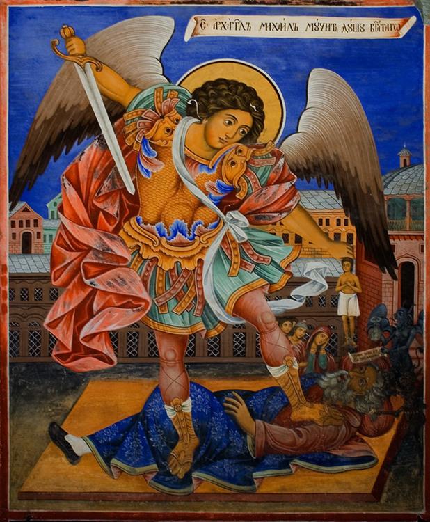 Архангел Михаил - Стенопис от Рилския манастир