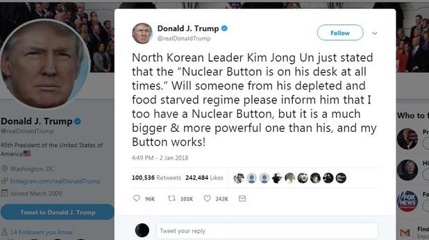 Тръмп към Ким Чен Ун: Моят ядрен бутон е по-голям и работи