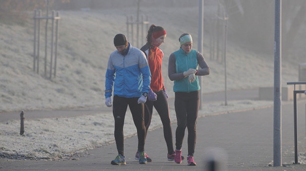 бягане, зима