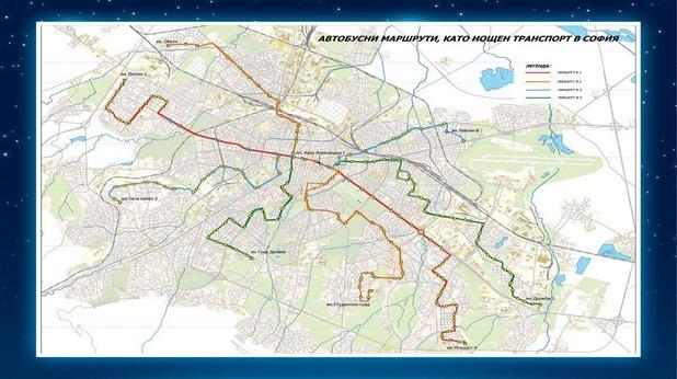 Карта на линиите от нощния градски транспорт в София