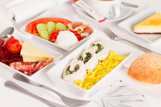 bulgaria air, българия еър, първа класа, меню в първа класа