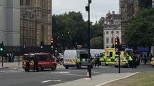 Кола удари загражденията около сградата на британския парламент