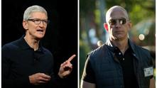 Тим Кук и Джеф Безос - Apple срещу Amazon