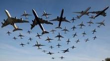 """Колаж на самолети, излитащи от """"Хийтроу"""""""