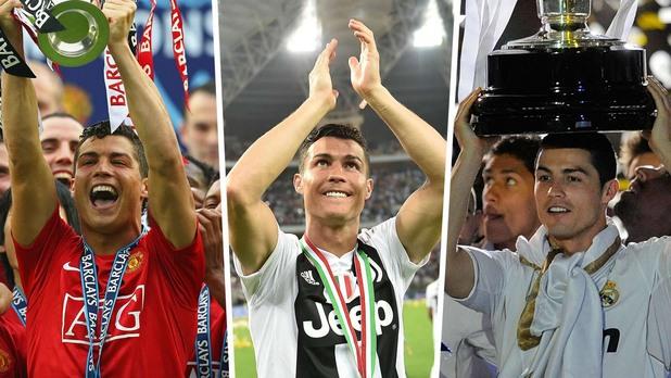 Роналдо с титлите на Англия, Испания и Италия